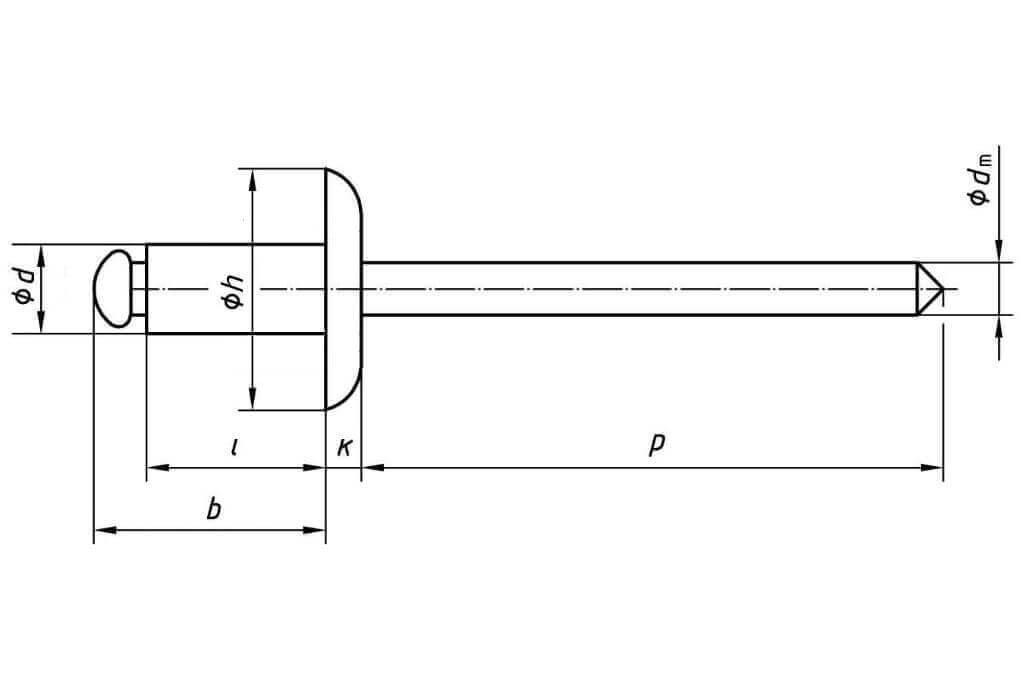 Схема с обозначением параметров вытяжной заклепки с увеличенным бортиком