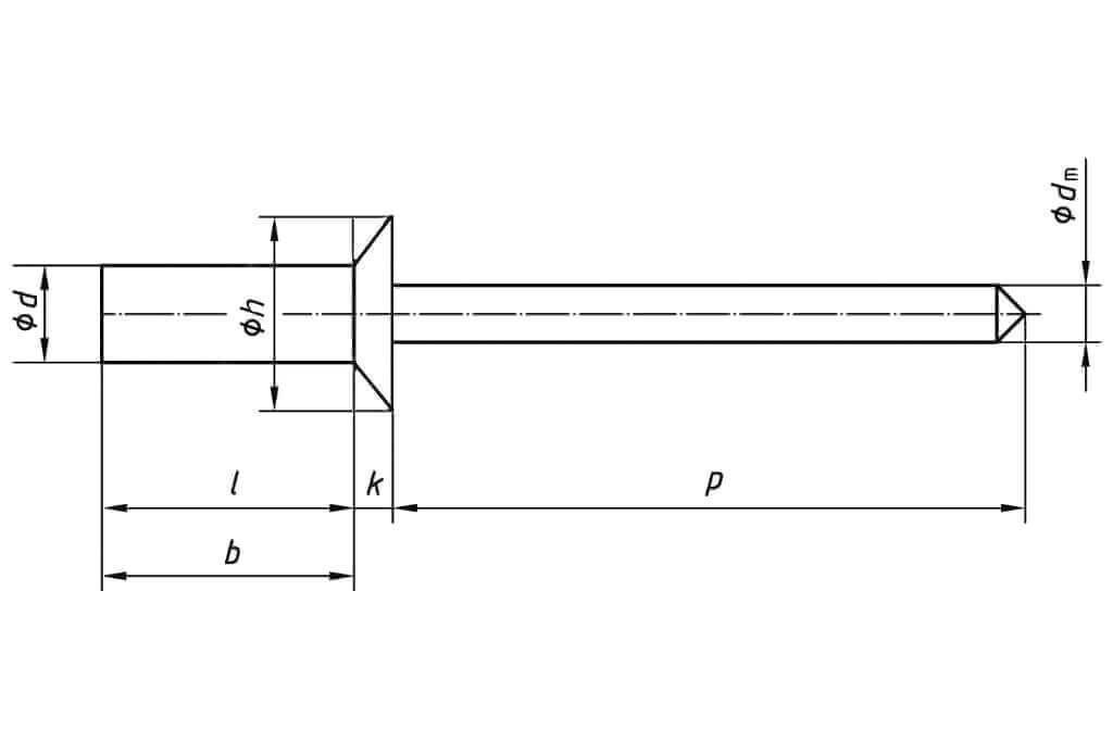 Технические обозначения многозажимной заклепки 4,8х22 с потайным бортиком алюминий/сталь