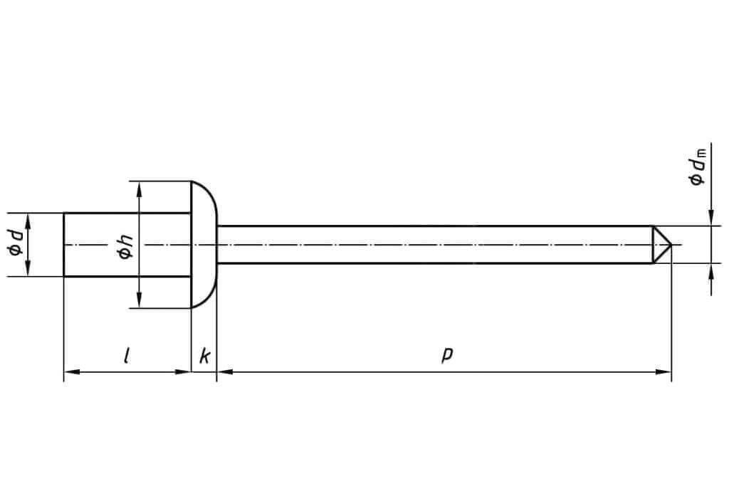 Технические обозначения закрытой заклепки 4х9,5 с выпускным бортиком нержавеющая сталь А2/нержавеющая сталь А2 Bralo