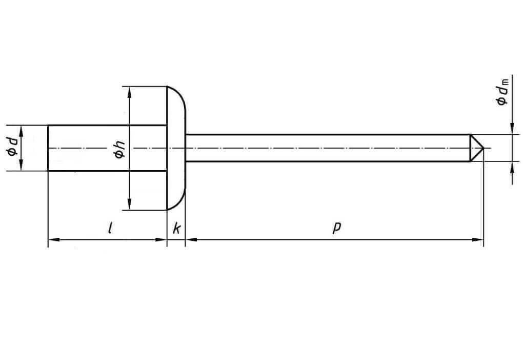 Технические обозначения многозажимной заклепки 4,8х17 с увеличенным бортиком алюминий/нержавеющая сталь А2