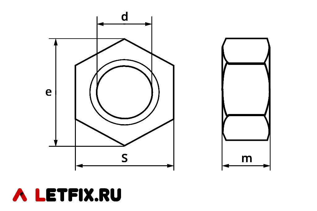 Основные размеры шестигранных гаек ГОСТ 10605-94 (ИСО 4032-86)