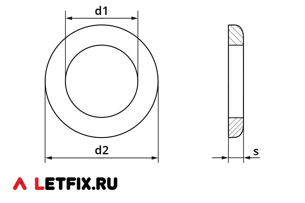 Основные размеры шайбы ГОСТ 11371-78 (схема размеров)
