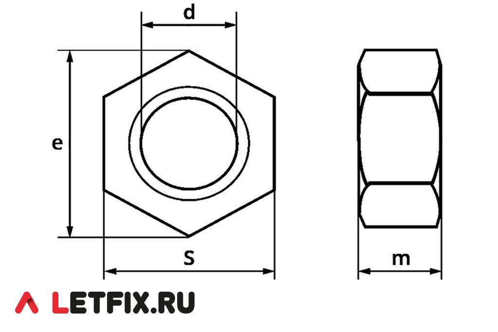 Размеры шестигранной гайки ГОСТ 5915-70