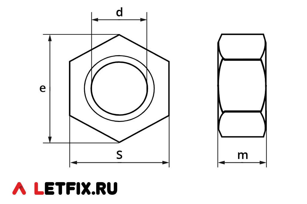 Схема размеров гайки ГОСТ 5927-70 класса точности А