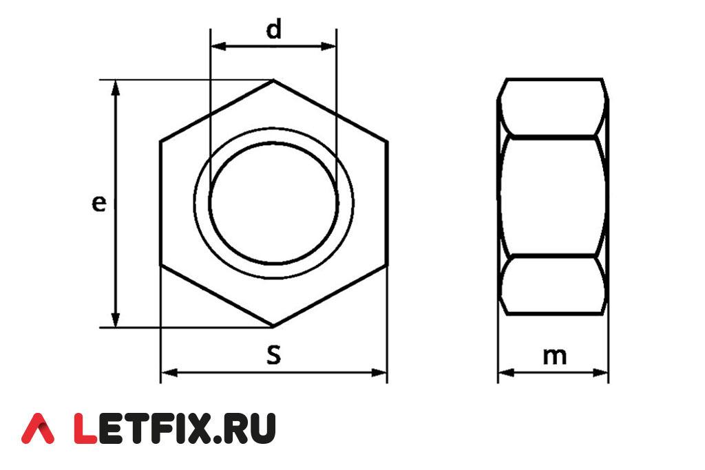Основные размеры шестигранных гаек ГОСТ ISO 4034-2014 класса точности С