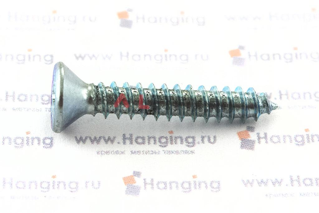 Оцинкованный шуруп ГОСТ Р ИСО 7050-2012 из углеродистой стали с потайной головкой с крестообразным шлицем