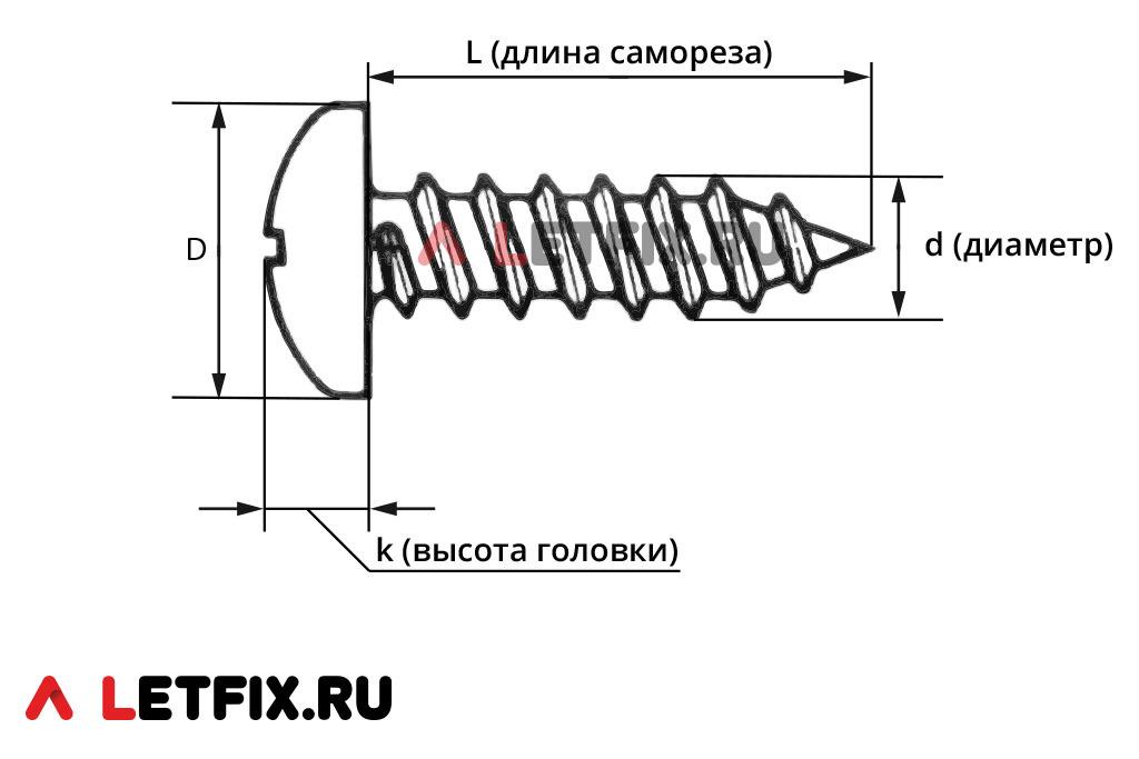 Схема размеров самонарезающего шурупа ISO 7049