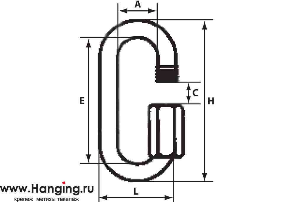 Схема размеров стального карабина 16 мм