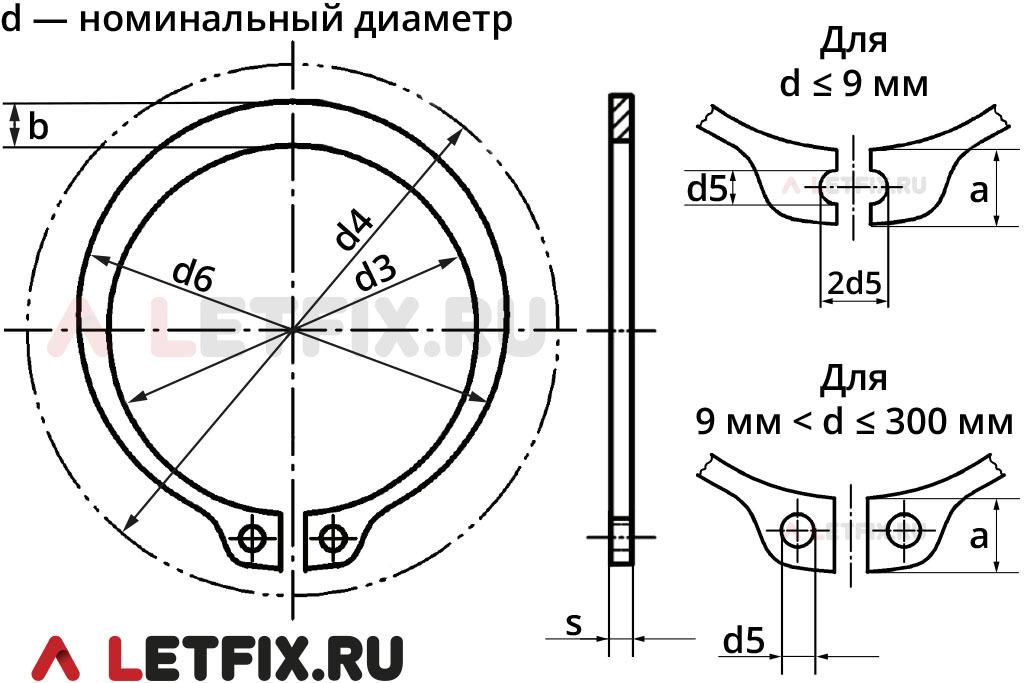 Схема размеров упорного наружного кольца DIN 471 диаметром 165 мм толщиной 4 мм