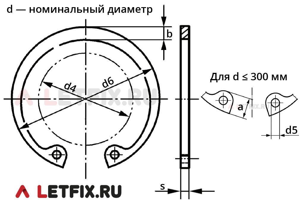 Размерная схема кольца 142х4 DIN 472 (аналога ГОСТ 13943-86).