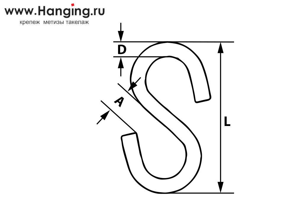Схема размеров S-образных крючков