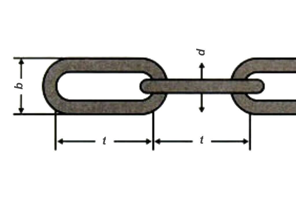 Чертеж стальной оцинкованной цепи DIN 763