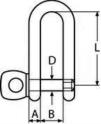 Скоба D-образая удлиненная из нержавеющей стали