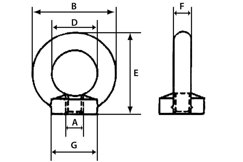 Техниченские размеры рым-гайки М48 с шагом резьбы 5