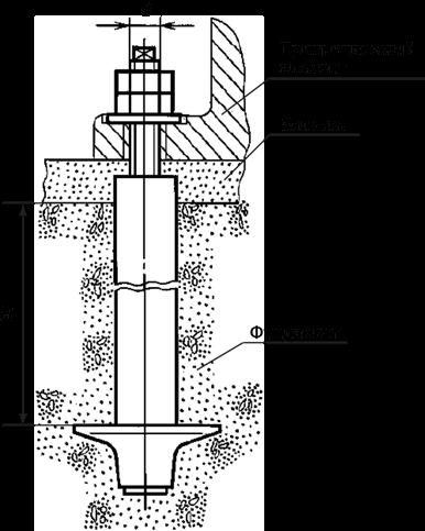 Пример использования фундаментного анкера ГОСТ 24379, типа 4, исполнения 3.