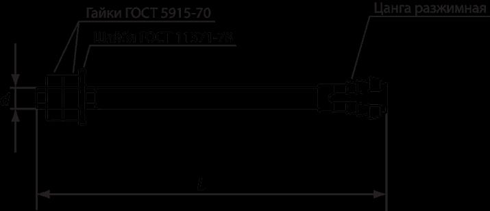 Фундаментный анкерный болт с разжимной цангой 24х200 типа 6, исполнения 1