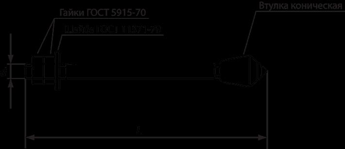 Составные части и размер фундаментного анкера М30х600 6.2 ГОСТ 24379.1-2012