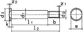 DIN 1445 — болт с овальной головкой и цапфой.