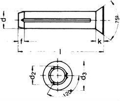DIN 1477 — заклепка с насечкой и потайной головкой.
