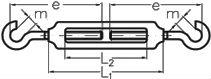 Талреп крюк-крюк DIN 1480 - размеры, характеристики.