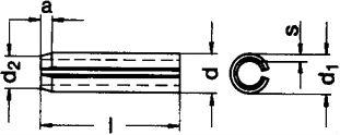 DIN 1481 — штифт пружинный цилиндрический.