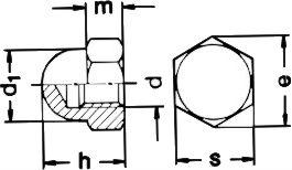 DIN 1587 — гайка колпачковая высокая.