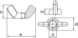 Схема и размеры барашковой гайки DIN 315