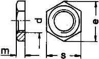 DIN 431. Гайка трубная, низкая. Схема.
