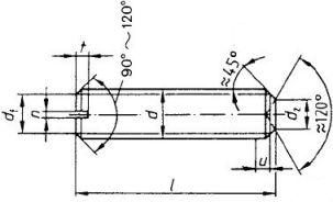 DIN 438 — винт установочный со шлицем и просверленным концом.