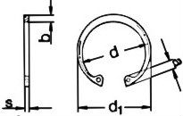 DIN 472 — кольцо стопорное, для вала, внутренее.
