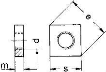 DIN 562 — гайка низкая, квадратная.