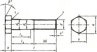 DIN 601 MU — болт с уменьшенной длиной резьбы.