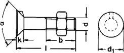 DIN 604 — винт с потайной головкой и усиком на подголовнике.