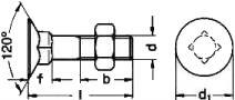 DIN 605 — винт с потайной головкой и квадратным подголовником.