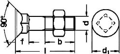 DIN 608 — винт с потайной головкой и квадратным подголовником.