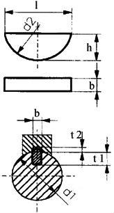 DIN 6888 — шпонка сегментная полукруглая.
