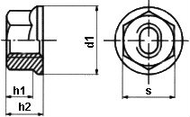 DIN 6923 — гайка с фланцем.
