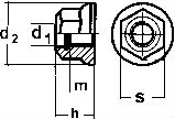 DIN 6926 — гайка самоконтрящаяся с нейлоновым кольцом и с фланцем.