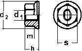 DIN 6927 — гайка стальная самоконтрящаяся с фланцем.