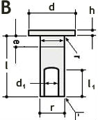 Заклепка гаечная форма B - размеры, характеристики.
