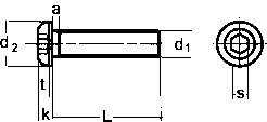 DIN 7380 — винт с полукруглой головкой и внутренним шестигранником.