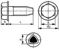 Винт DIN 7500 D (7500D) - размеры, характеристики.