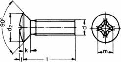 DIN 7516-E — винт самонарезающий с полу-потайной головкой.
