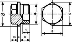 Заглушка DIN 7604, форма С - характеристики, размеры.
