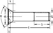 DIN 7969 — винт с неполной резьбой и потайной головкой.