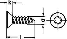 Шуруп DIN 7982, шлиц Torx - размеры, характеристики.