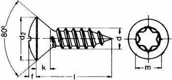 Шуруп DIN 7983, шлиц Torx - размеры, характеристики.