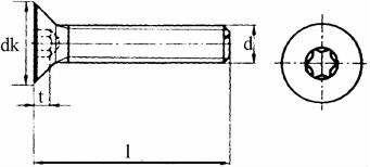 Винт DIN 7991, шлиц Torx - размеры, характеристики.