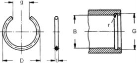 Кольцо DIN 7993 B, стопорное внутреннее - размеры, характеристики.