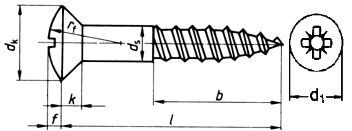 DIN 7995 — шуруп саморез с полупотайной головкой и неполной резьбой.